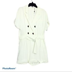 MNG Playsuit Blazer Style Cocktail Romper. White.